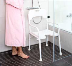 Aluminium-Duschstuhl             mit Rückenlehne und Armlehnen